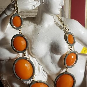 * Bright Orange Statement Necklace